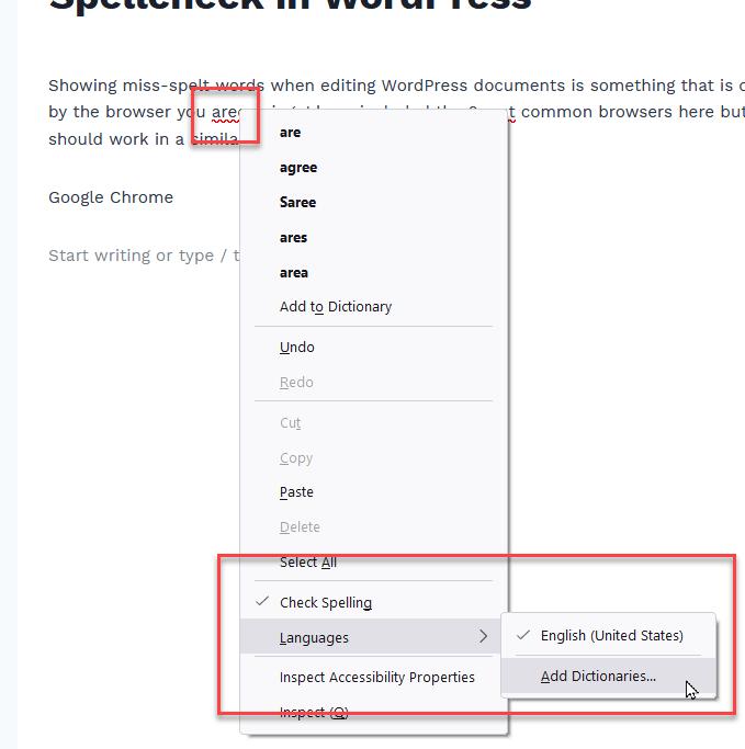 Spellcheck in WordPress using Firefox