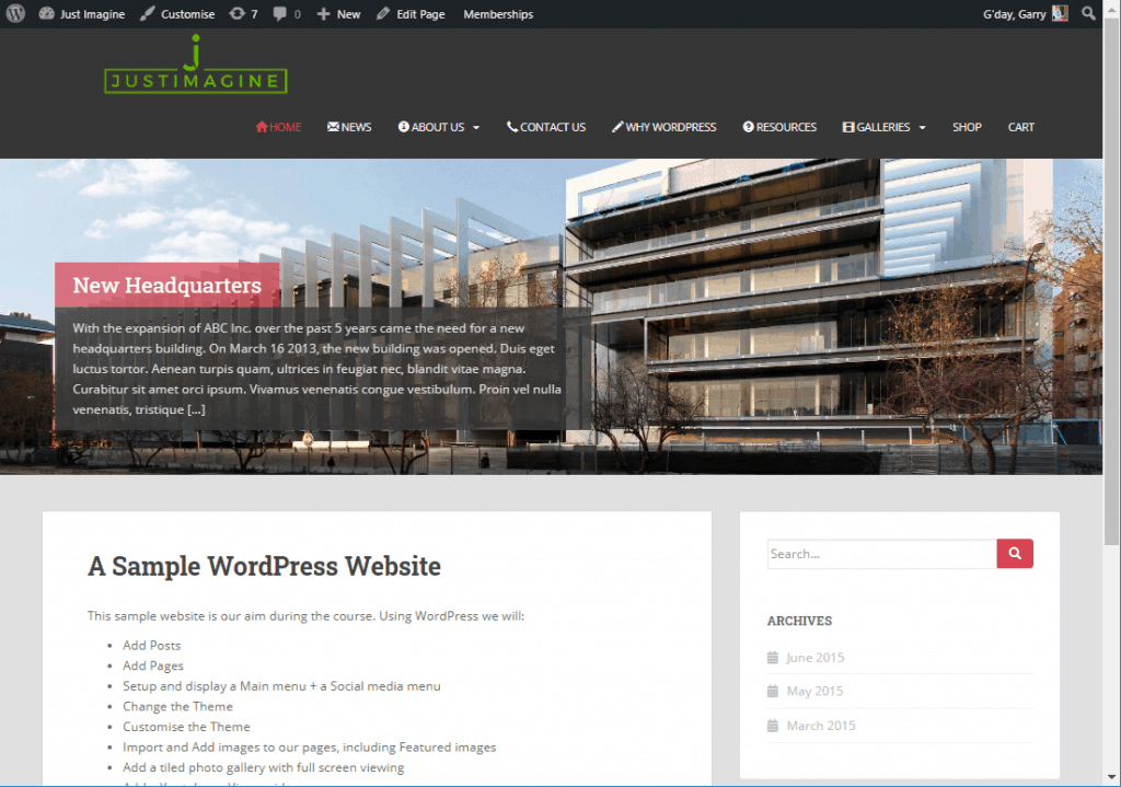 Home page of the website created at the WEA WordPress course.